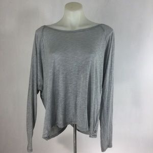 Fabletics Top Gray Wrap Shirt Switch Back Tee